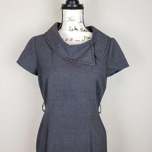 Tahari gray career dress sheath sz 6